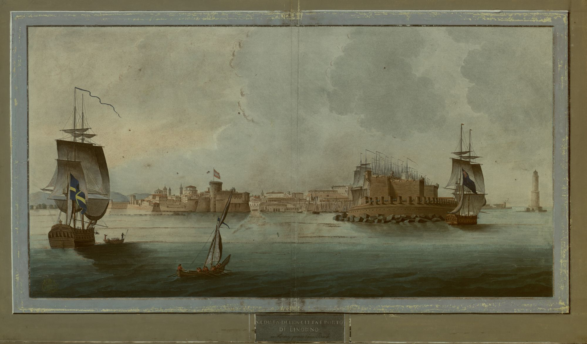 A view of the city and port of Livorno, Italy