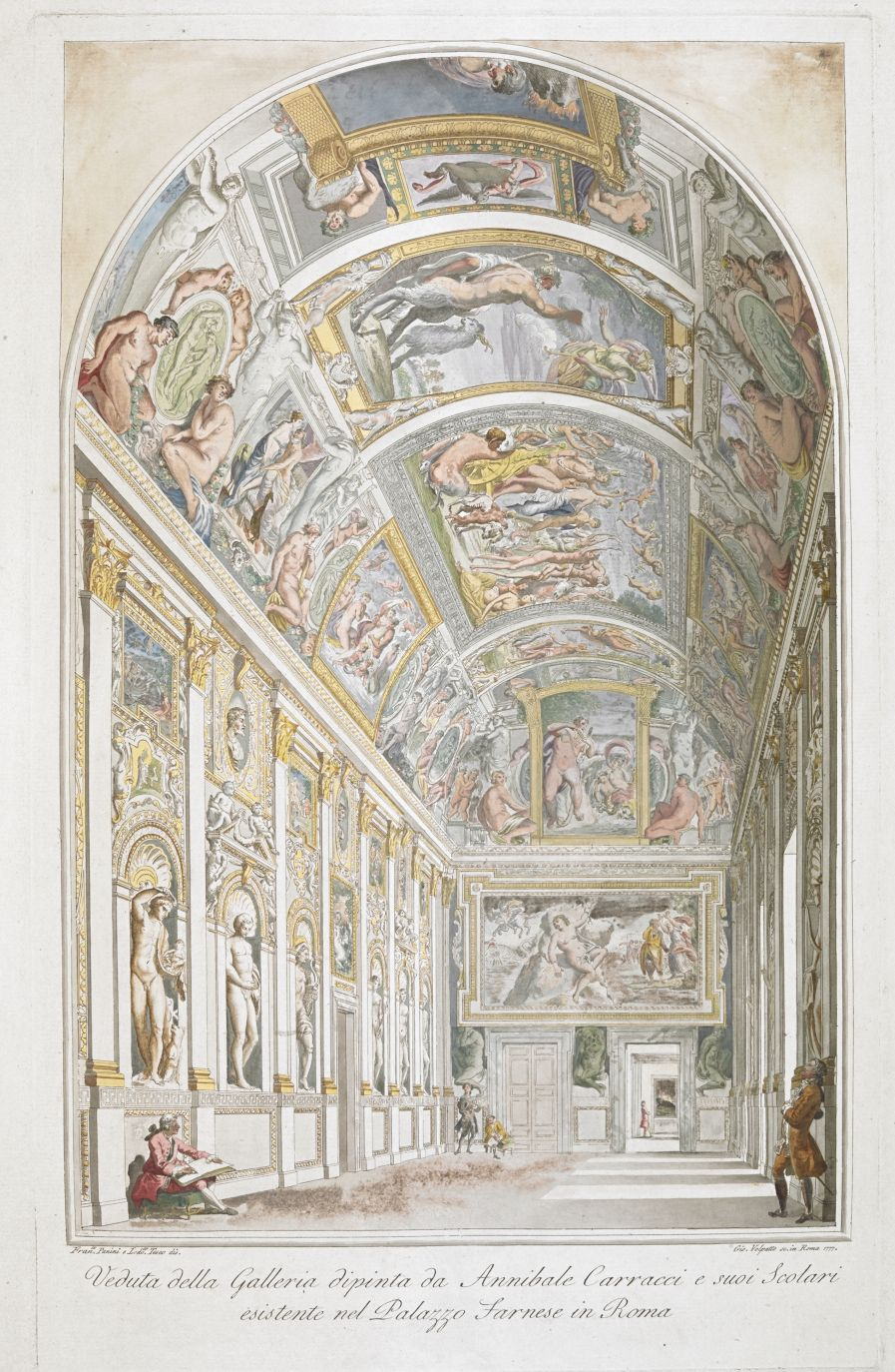 A view of Annibale Carracci's fresco gallery in the Palazzo Farnese, Rome