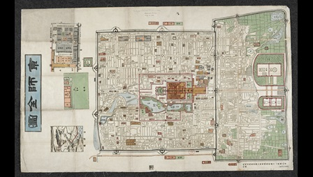 A woodcut map of Peking from c.1900.