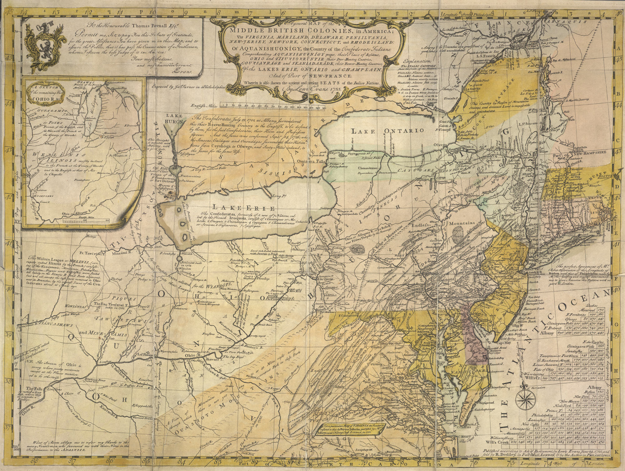 A General Map of the Middle British Colonies in America (C.32.h.12.)