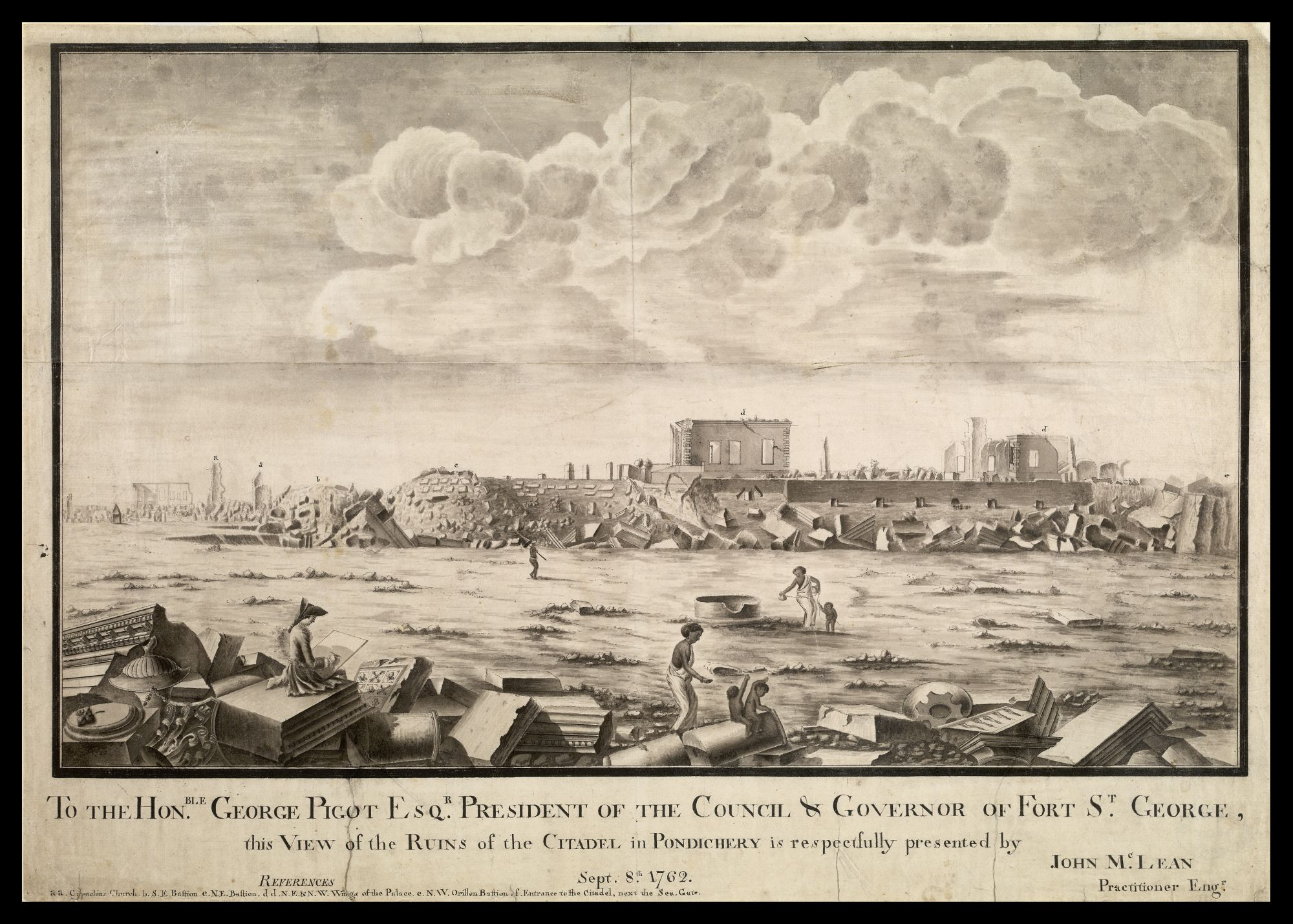 Ruins of the citadel in Pondicherry after the attack by the British by Captain John McClean; Captain McClean draws the scene in the foreground