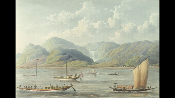 Thomas Sutherland (1785-1838) after Charles Ramus Forrest (1787-1827), The Motee Girna or Fall of Pearls in the Rajemaha, published London, Rudolph Ackermann (1764-1834), 1 August 1824