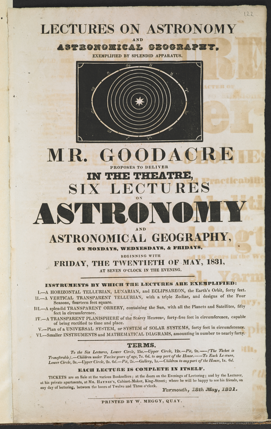 Lectures on astronomy and astronomical geography. Exemplified by splendid apparatus. Mr. Goodacre proposes to deliver in the theatre, six lectures on astronomy and astronomical geography, on Mondays, Wednesdays, & Fridays, beginning with Friday, the twentieth of May, 1831, at seven o'clock in the evening, [Great Yarmouth], printed by W. Meggy, Quay, [1831], 33 x 20 cm, N.Tab.2012/6(1i) (122)