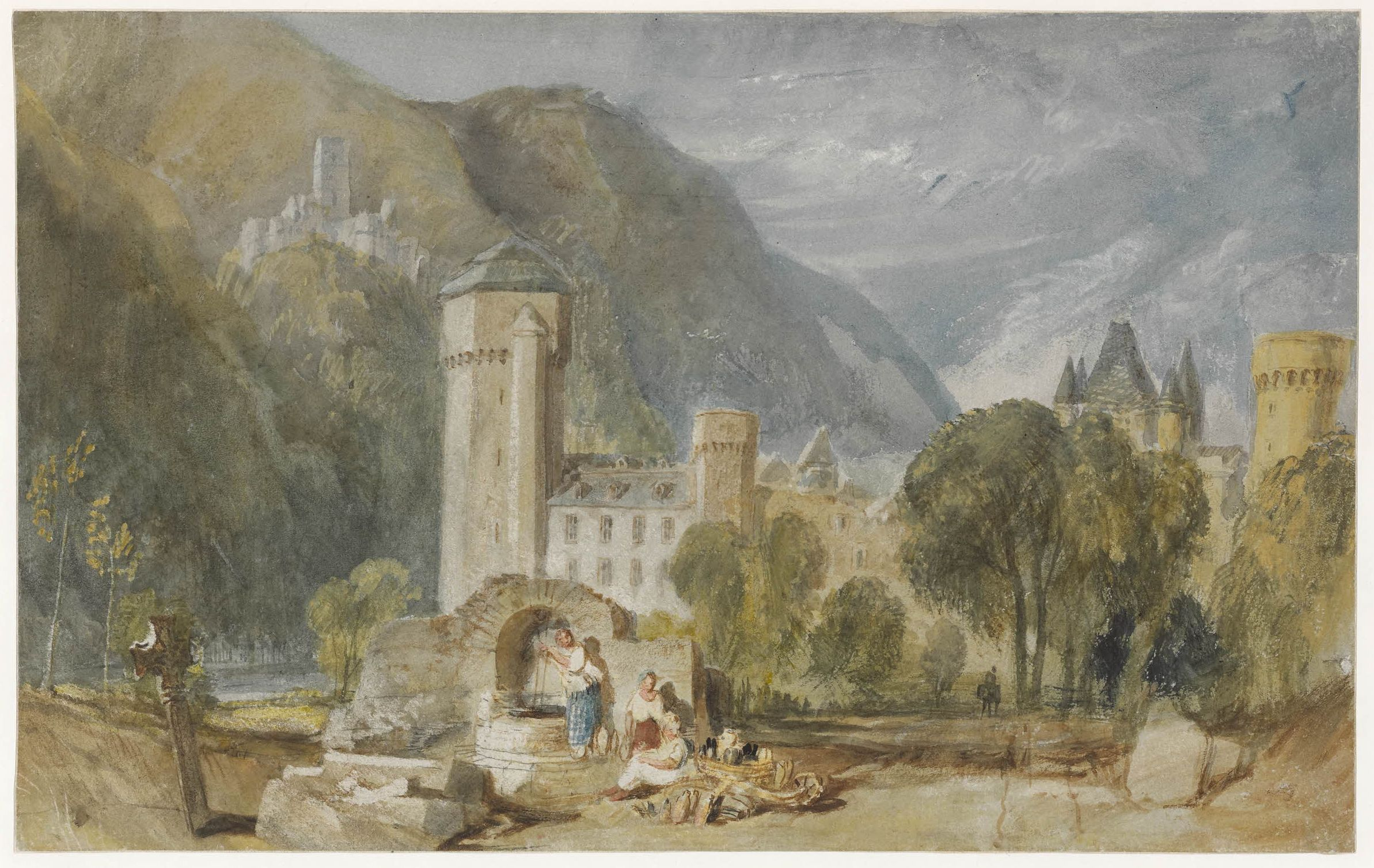 Joseph Mallord William Turner (1775-1851), Oberlahnstein, 1817, watercolour and bodycolour on white paper prepared with grey wash, 19.8 x 31.6 cm