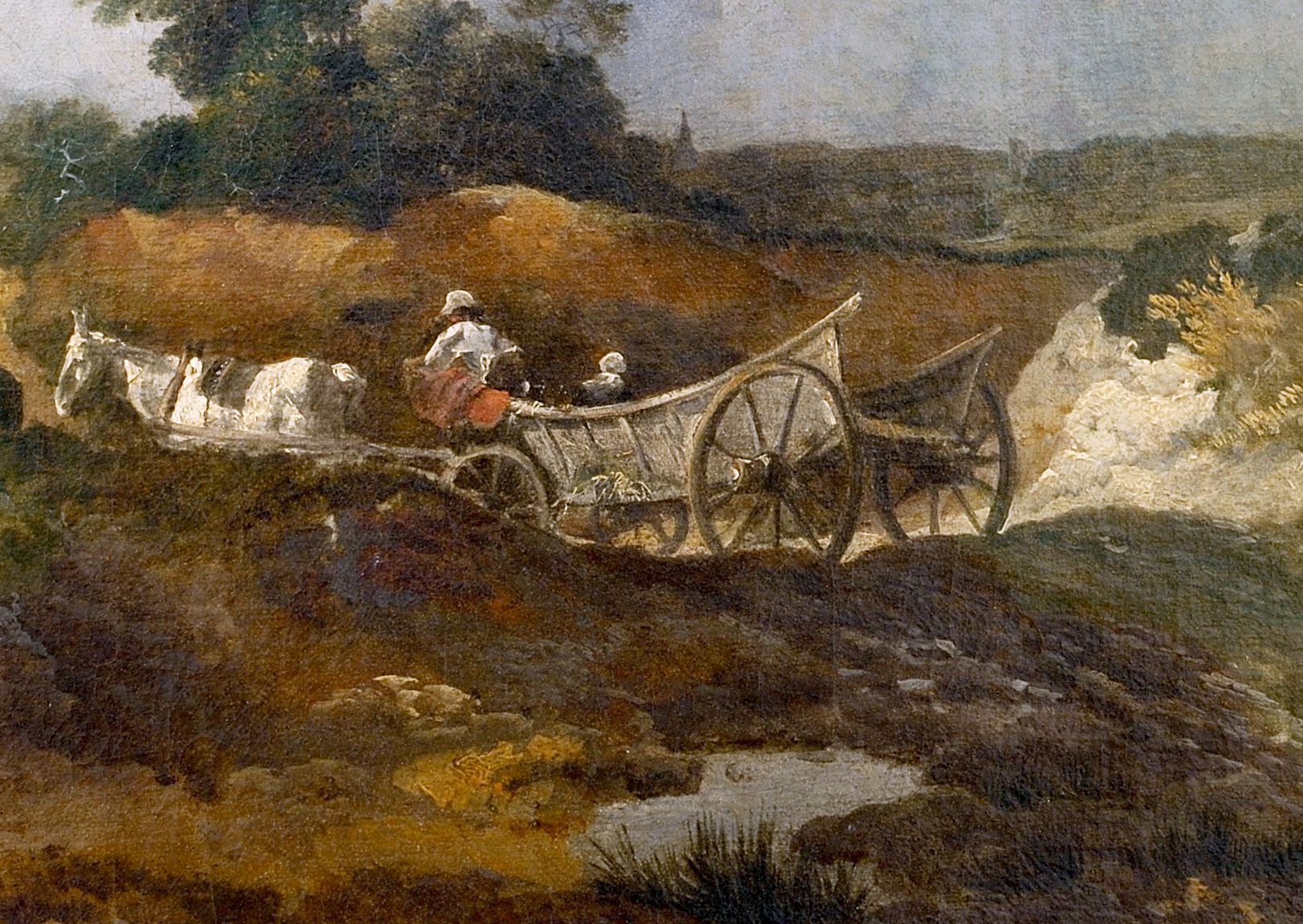 Thomas Gainsborough (1727-88), Detail from Open Landscape with Country Wagon on an Undulating Track, 1746-7, oil on canvas, 48.3 x 60.3 cm, Gainsborough's House, Sudbury, Inventory Number L0001