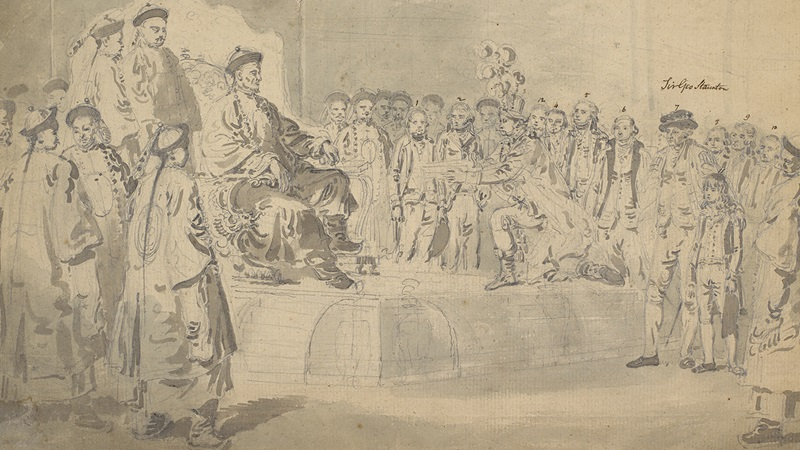 Watercolouring showing the Chinese Emperor Receiving the Macartney Embassy