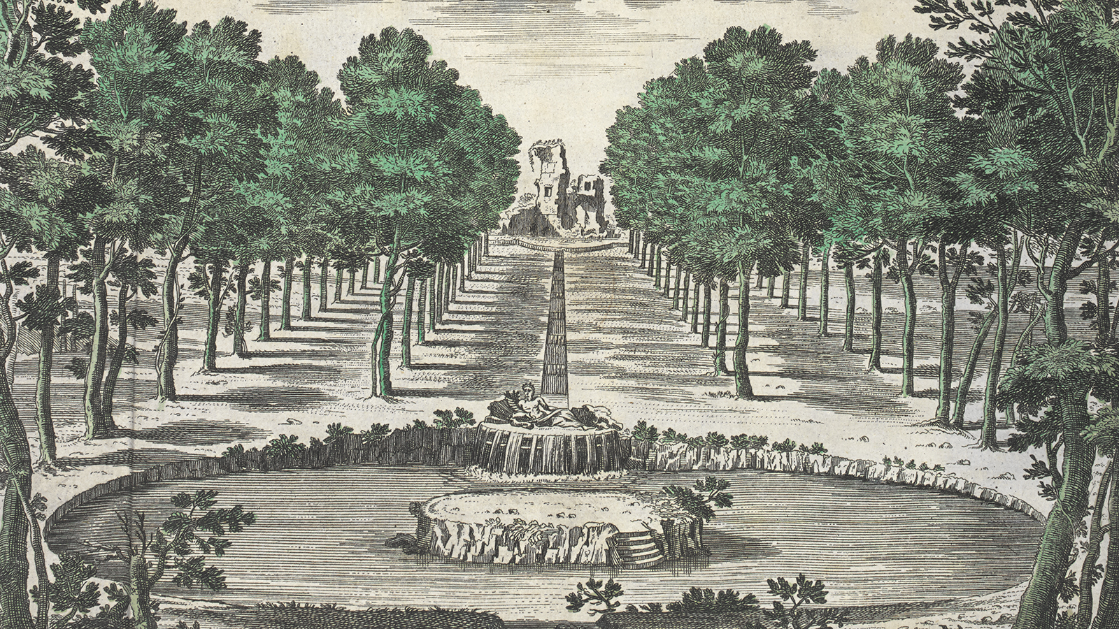 engraving of a fountain, folly and trees from Batty Langley's 'New principles of Gardening'
