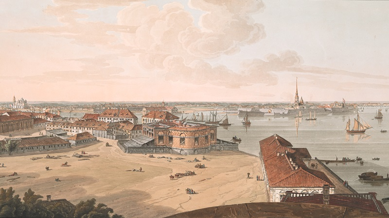Cropped image taken from an 18th century panorama of St Petersburg