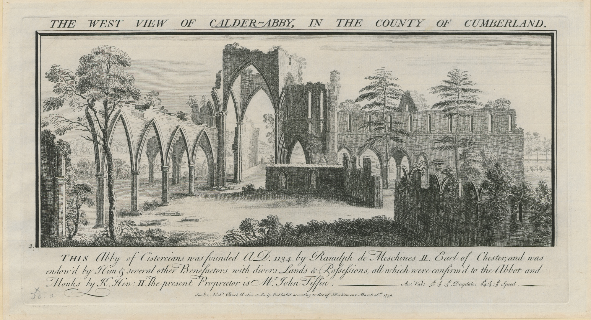 The west view of Calder Abbey, in the county of Cumberland