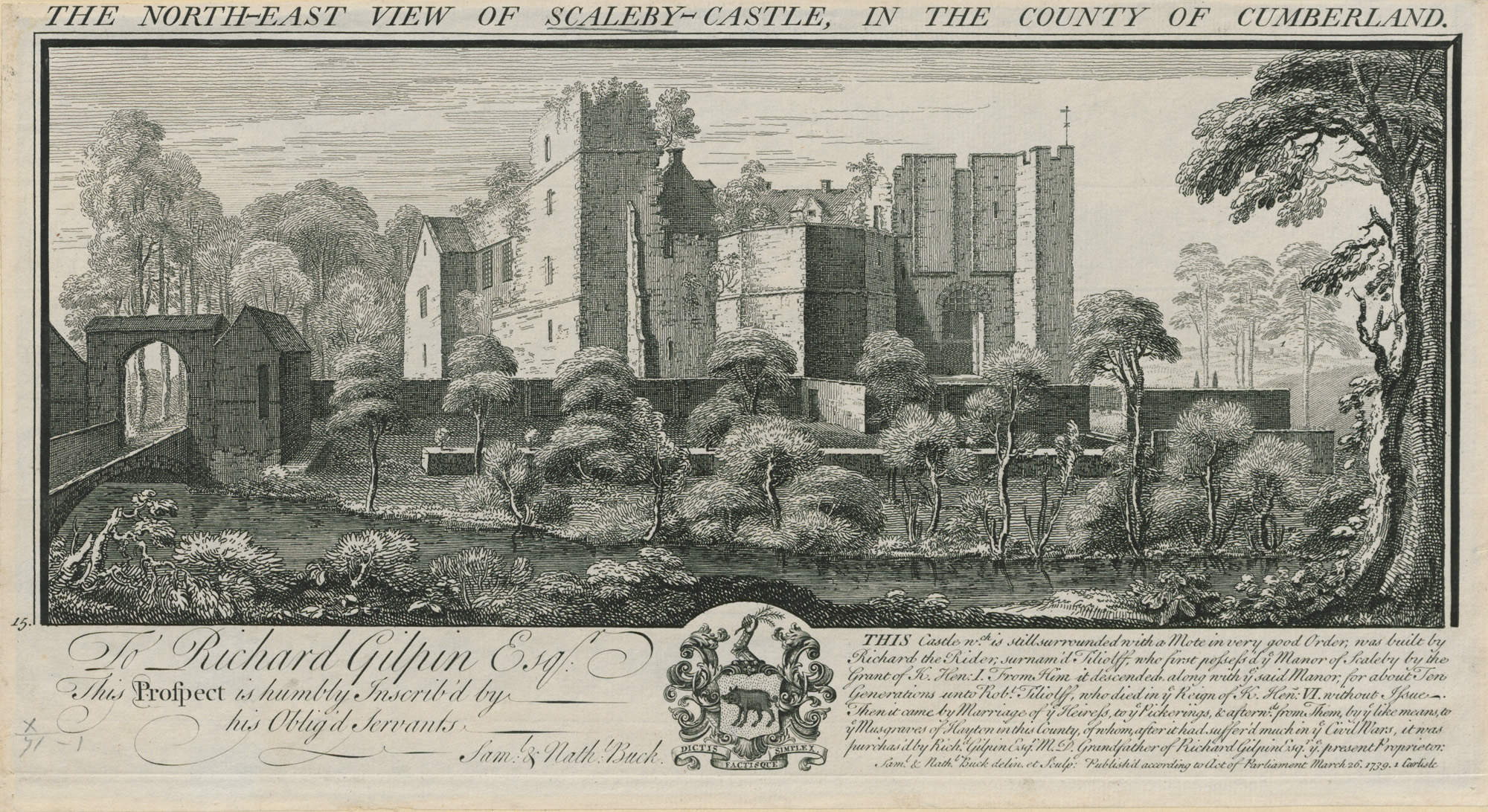 Engraving of Scaleby Castle