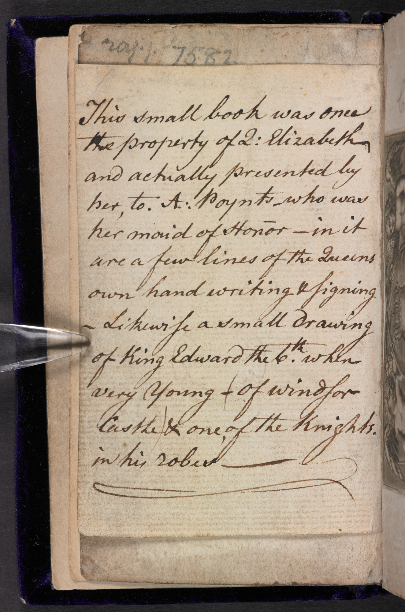 Handwritten 18th century description of the manuscript additions to this bible