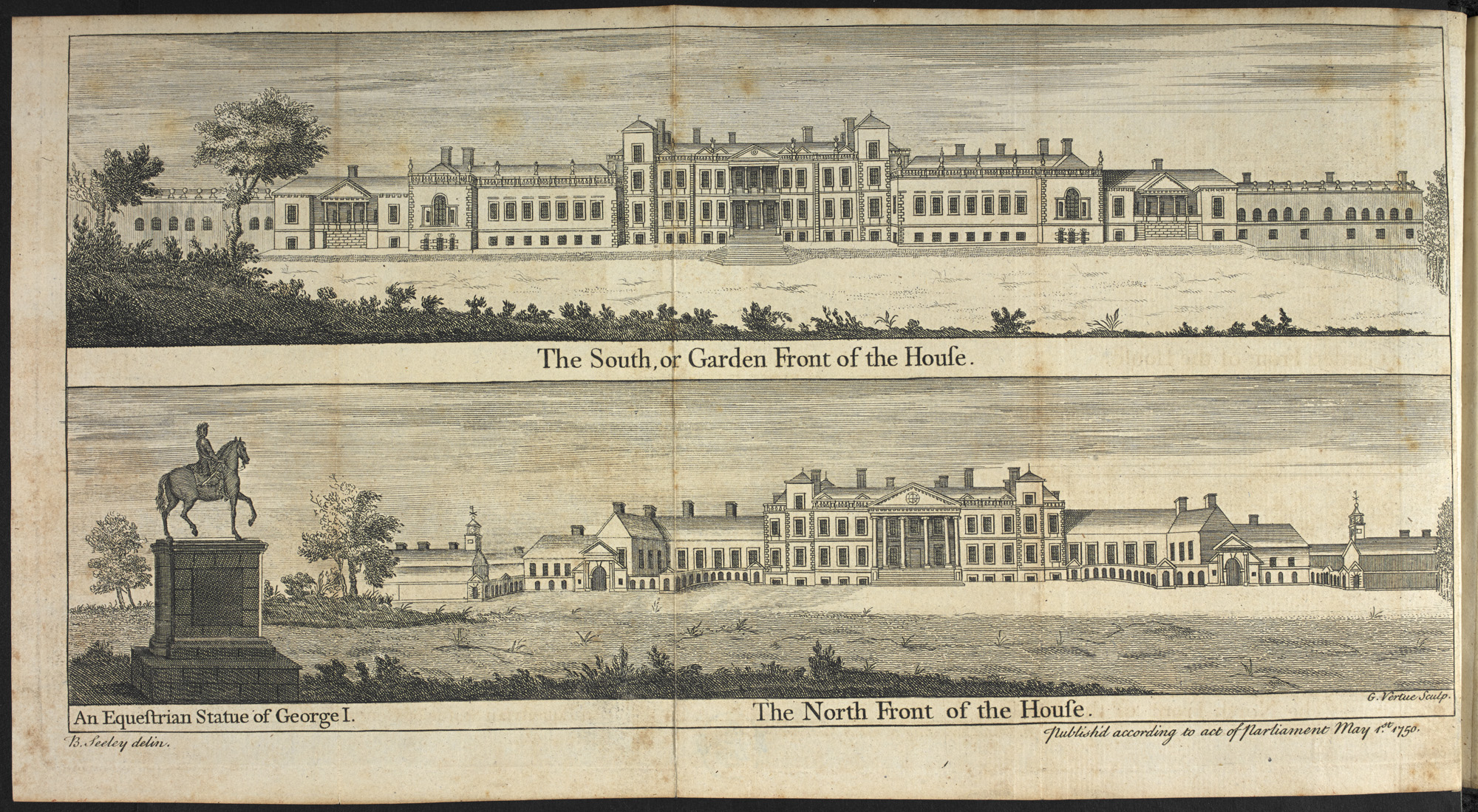 Two views of the house at Stowe, from different vantage points