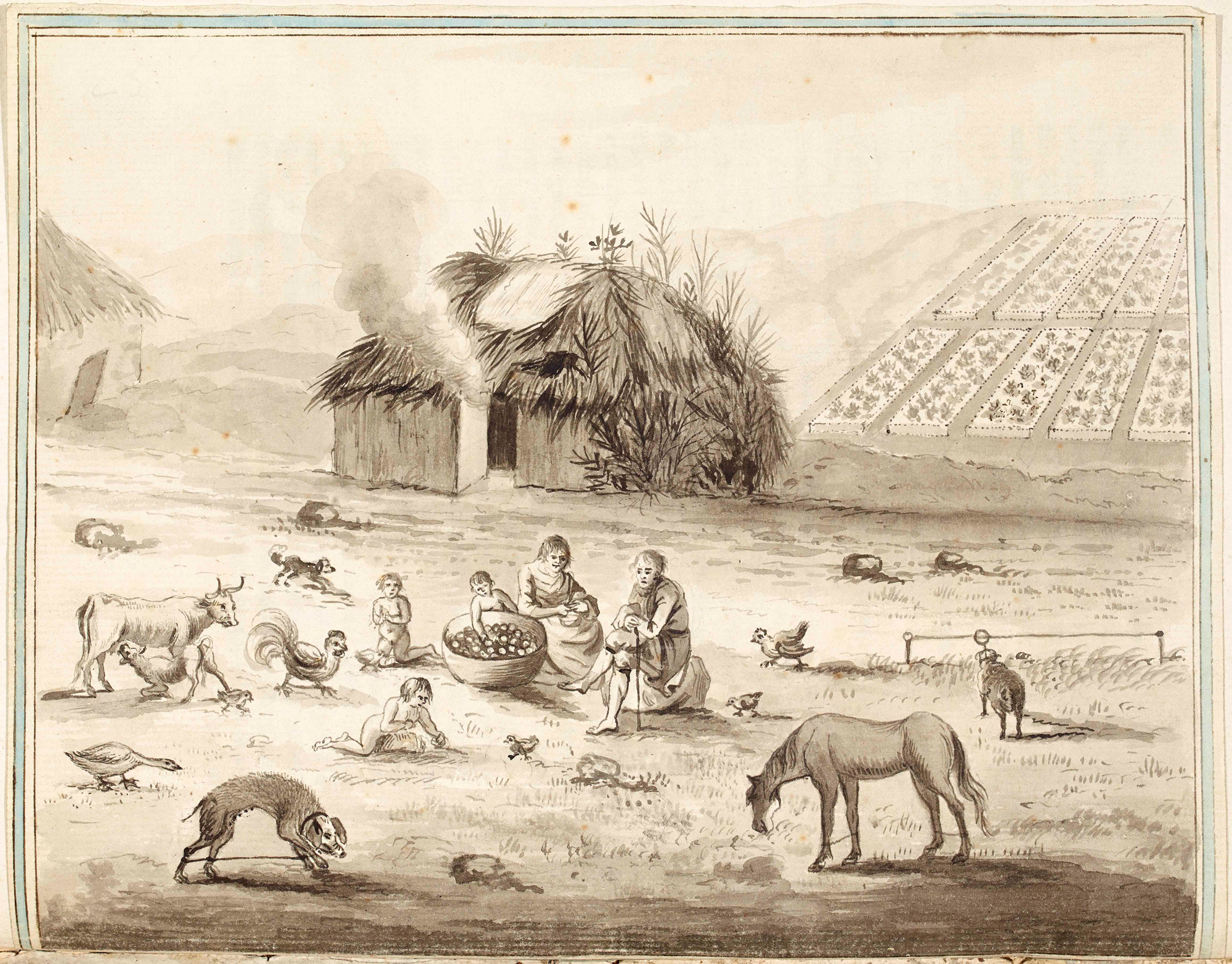 Arthur Young's pen and wash drawing of an Irish cabin.