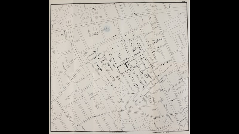 Map showing the deaths from cholera in the Soho area of London from 19th August to 30th September 1854. A black mark or bar for each death is placed in the situation of the house in which the fatal attack took place.