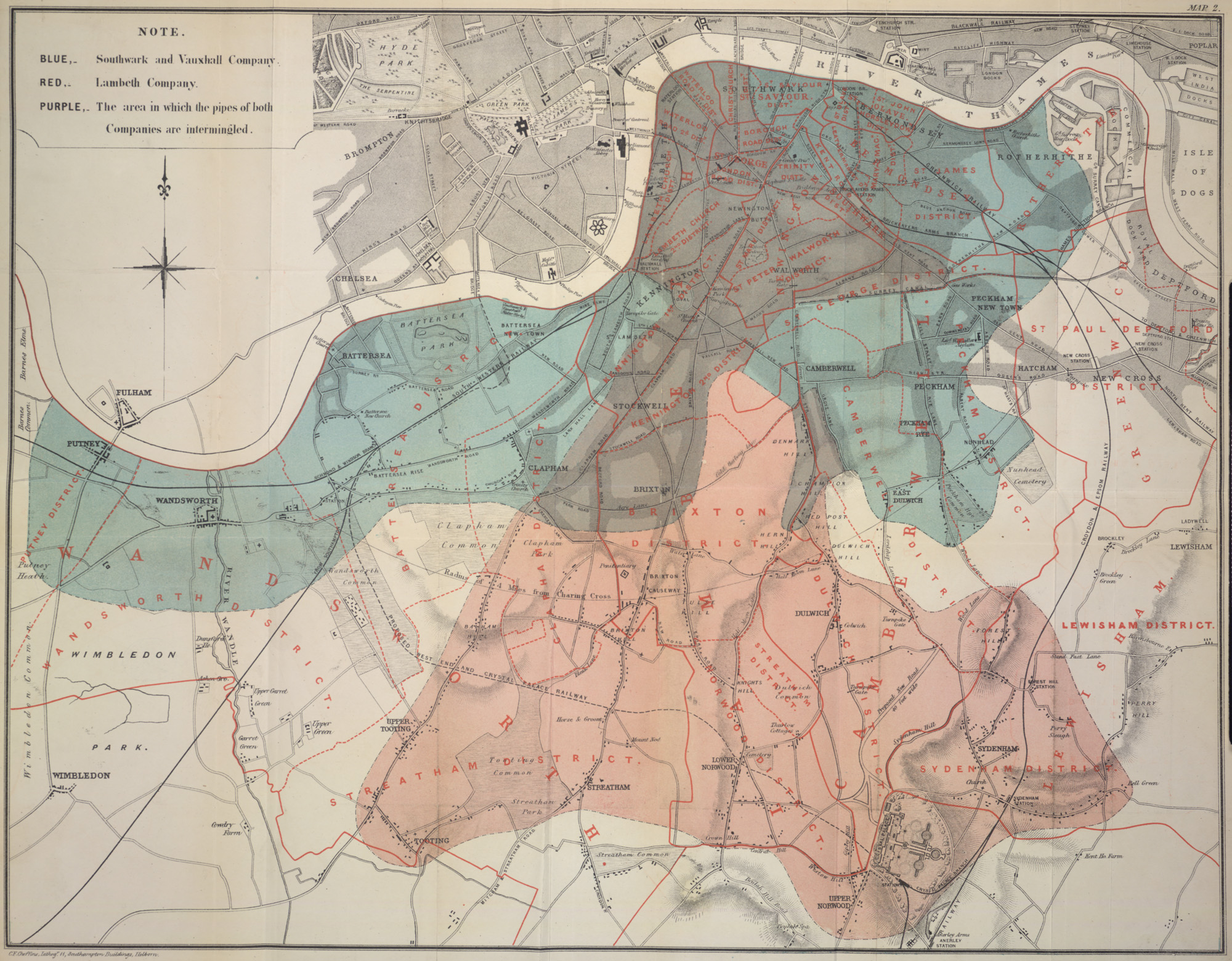 : Map showing the areas served by the Southwark & Vauxhall Water Company and the Lambeth Water Company