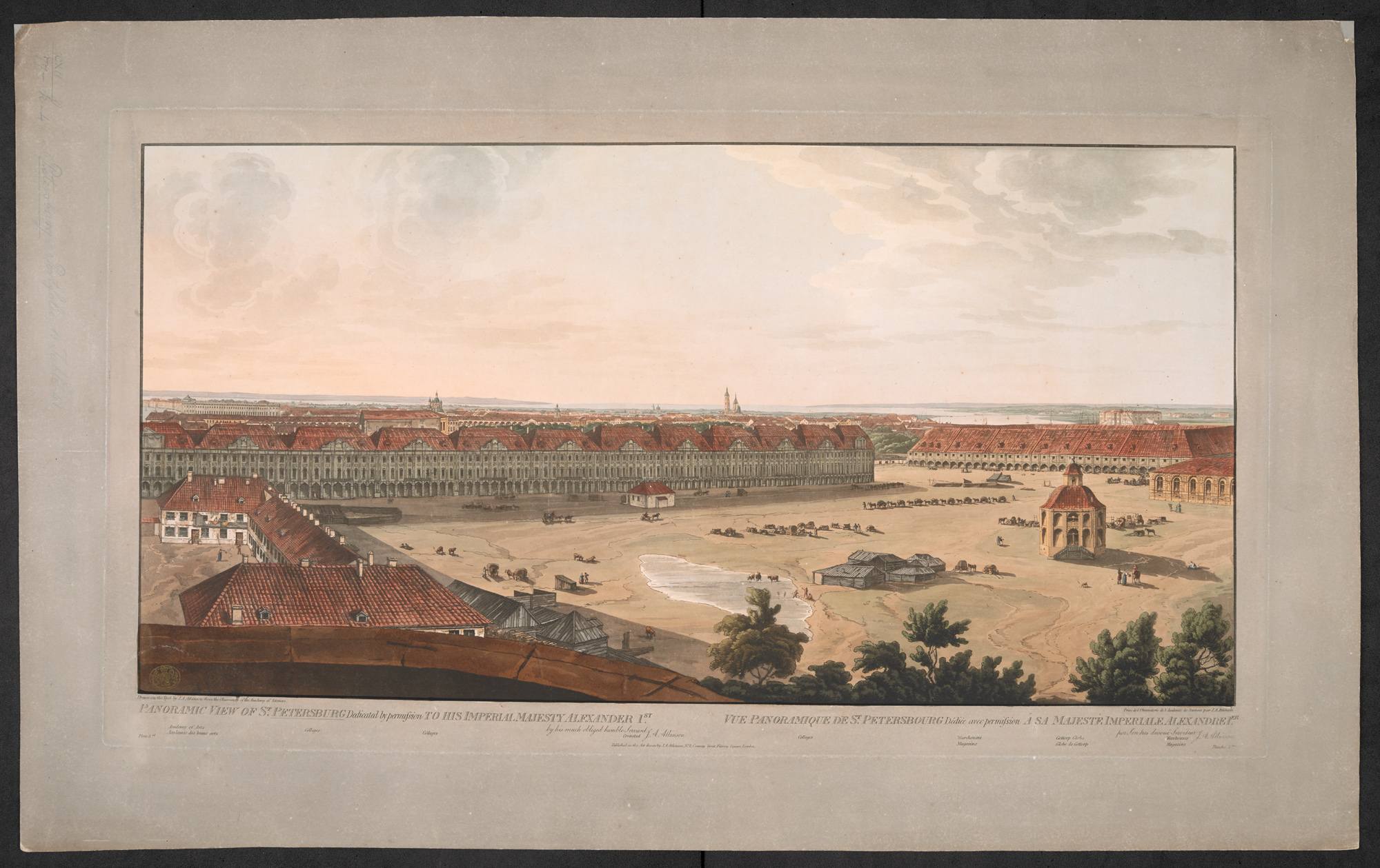 3rd of 4 plates showing a panorama of St Petersburg