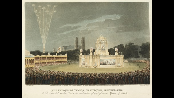 The Revolving Temple of Concord Illuminated: As Erected in the Park in Celebration of the Glorious Peace of 1814