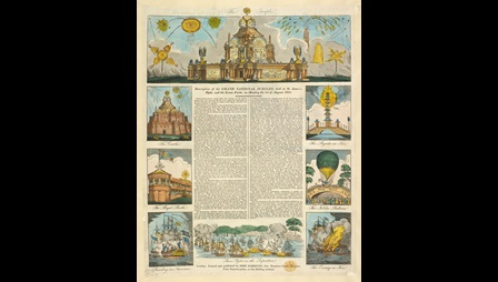 Bright hand-coloured views of the spectacles created for the 1814 Jubilee surround a letterpress description