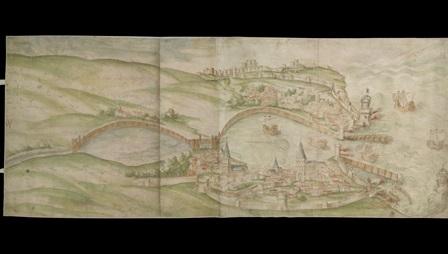 Vincenzo Volpe's Bird's-eye drawing of the proposed works at Dover, 1532