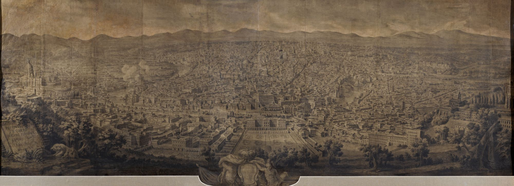 "Preparatory drawing for the engraving ""Prospetto dell'alma città di Roma visto dal Monte Gianicolo"", which was first published by Giuseppe Vasi in 1765"