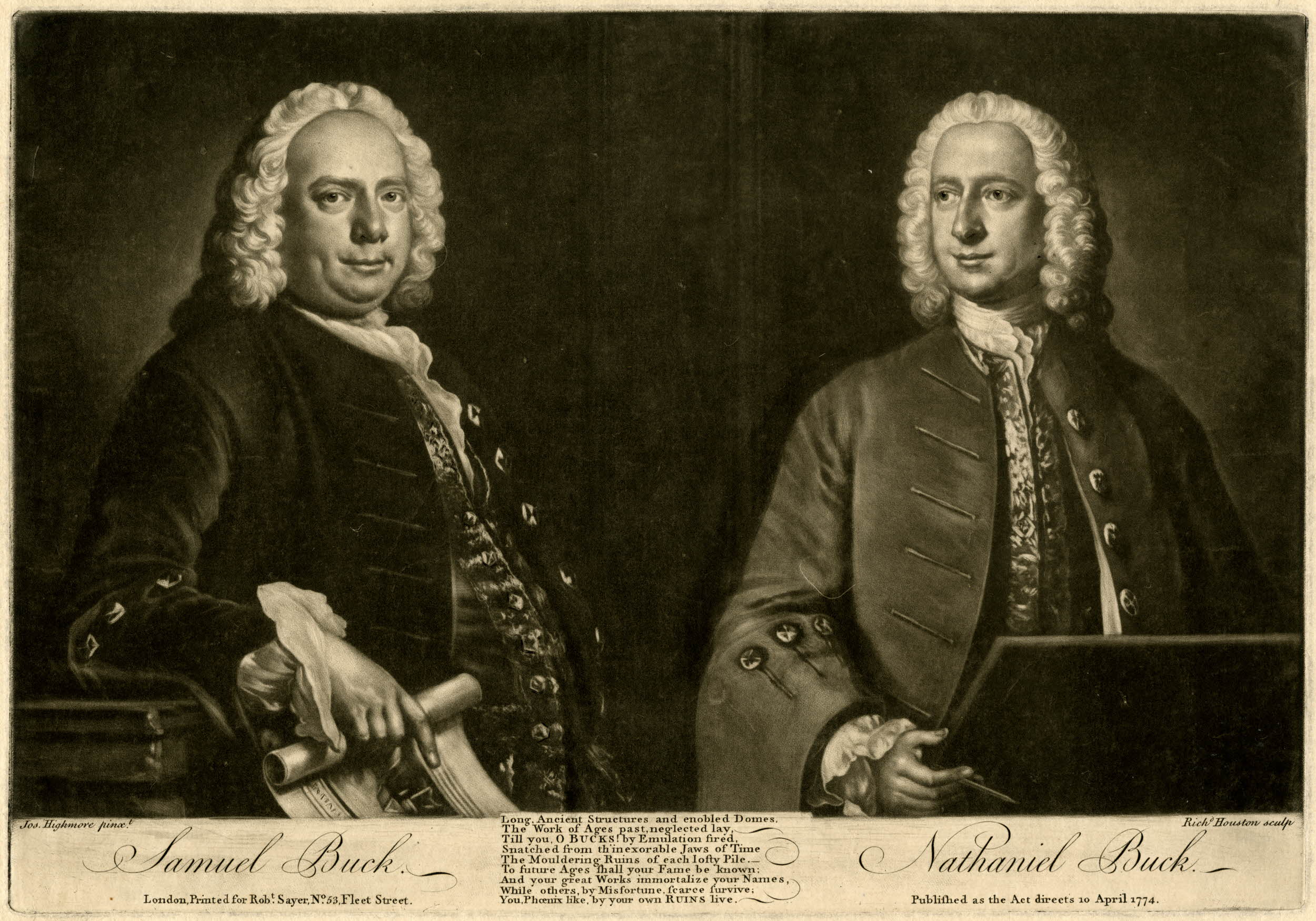 Richard Houston after Joseph Highmore, Samuel Buck; Nathaniel Buck, (London: R. Sayer, 1774), mezzotint, platemark 22.9 x 32.9 cm, British Museum, London, K,67.58