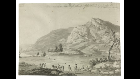 Paul Sandby (1731-1809), Ramnock in the High Lands of Scotland 1749 when the military survey, 1749, bistre and wash over pencil, 20.9 x 29.5 cm, in extra-illustrated copy of Thomas Pennant's Tour of Scotland 1769-72, 1772 (vol. 1, part 2, facing p. 249), National Library of Wales, Aberystwyth.