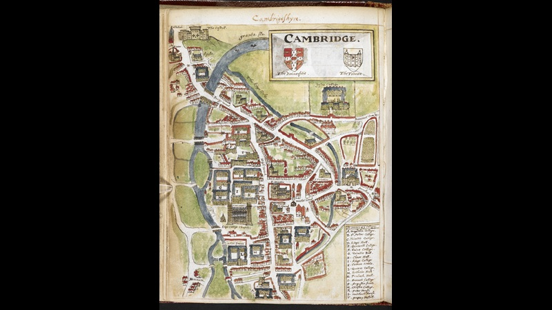 A coloured manuscript plan of Cambridge by William Smith.