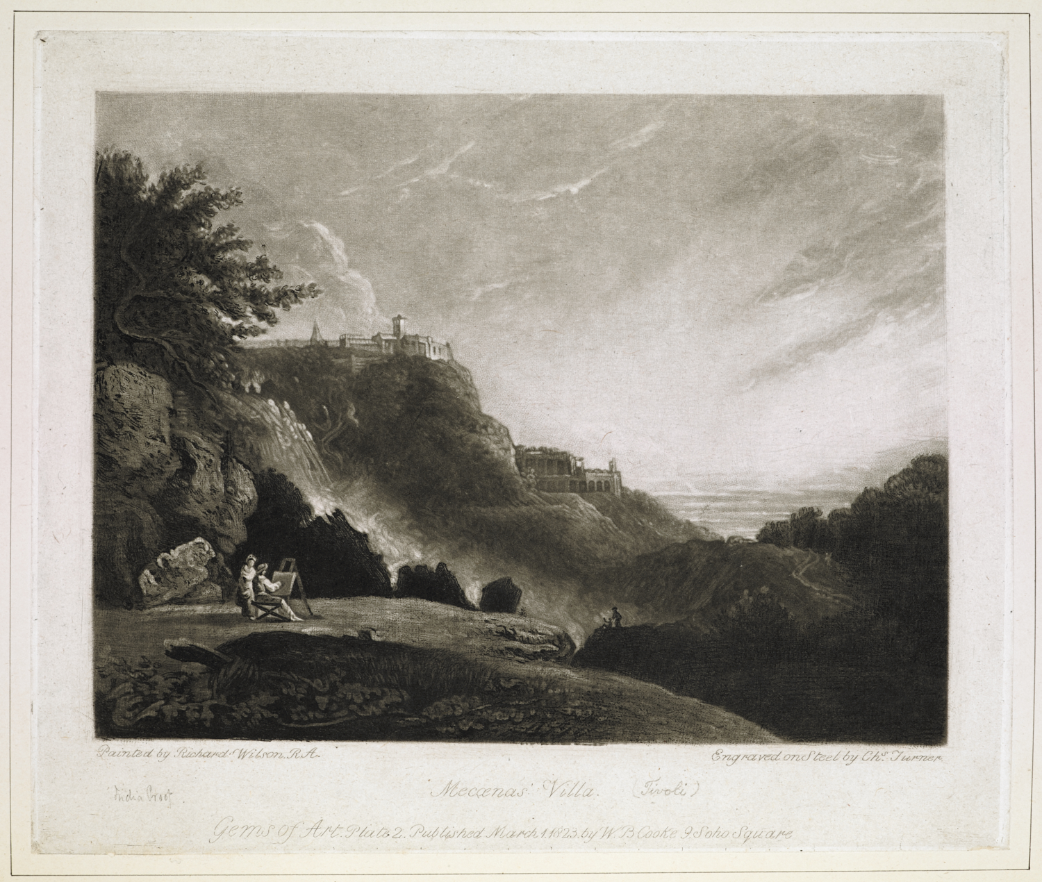Maecena's Villa (Tivoli). / painted by Richard Wilson R.A.; engraved on steel by Chas. Turner.