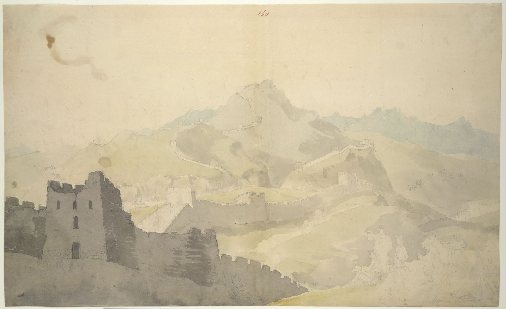 Watercolour of the Great Wall of China by William Alexander