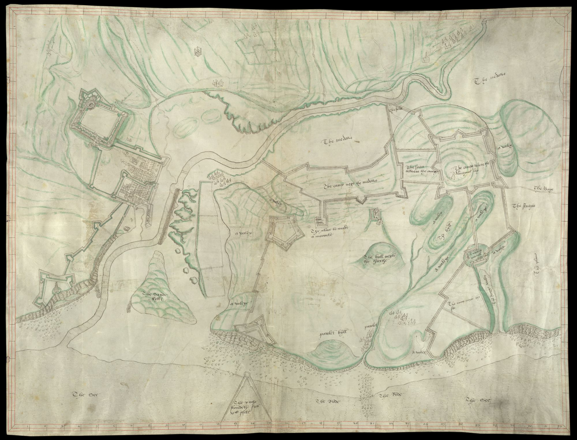 This plan shows fortifications in Boulogne and its environs and is thought to date from 1546
