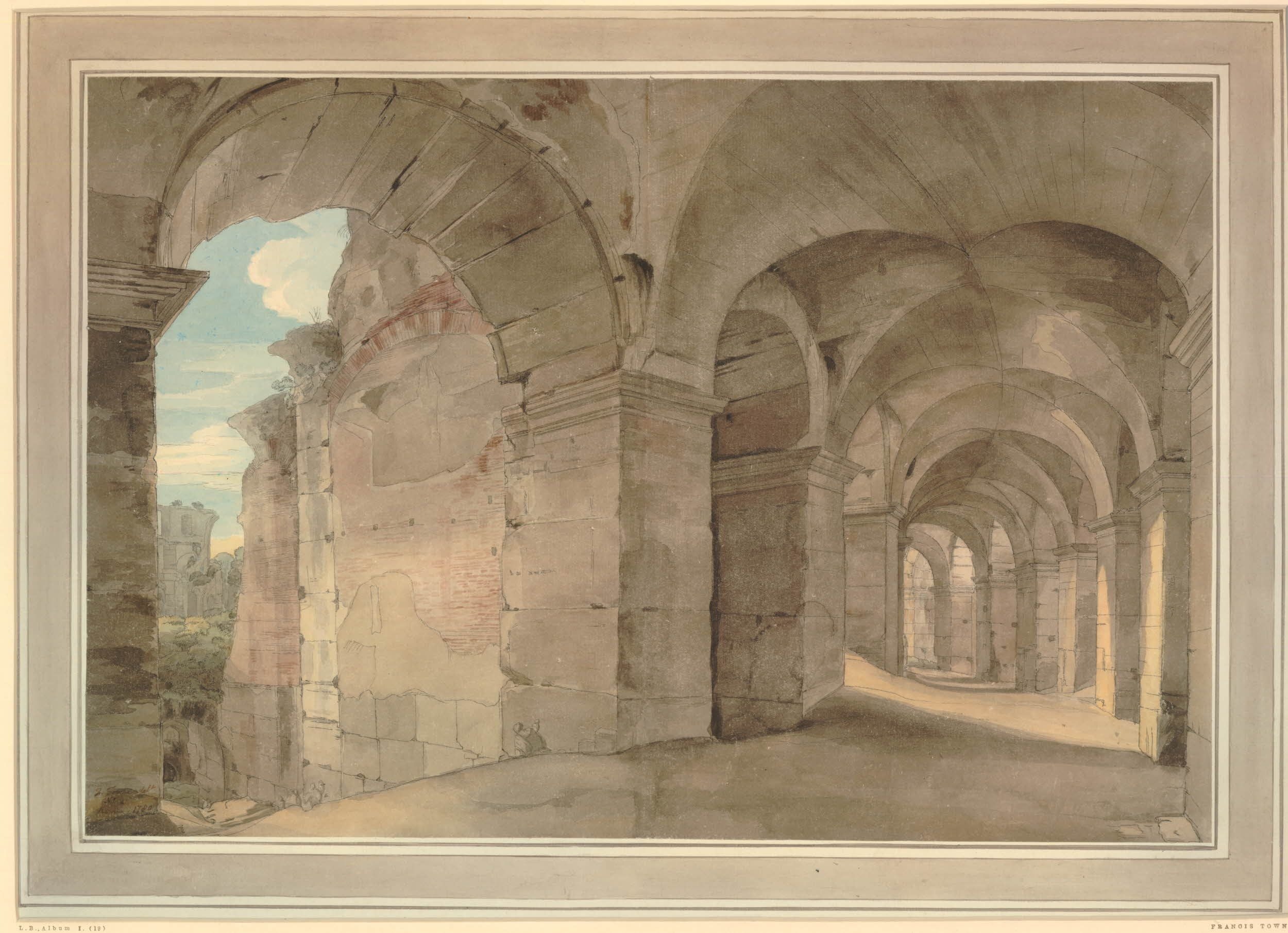 Francis Towne's watercolour of the inside of a gallery of the Colosseum, Rome