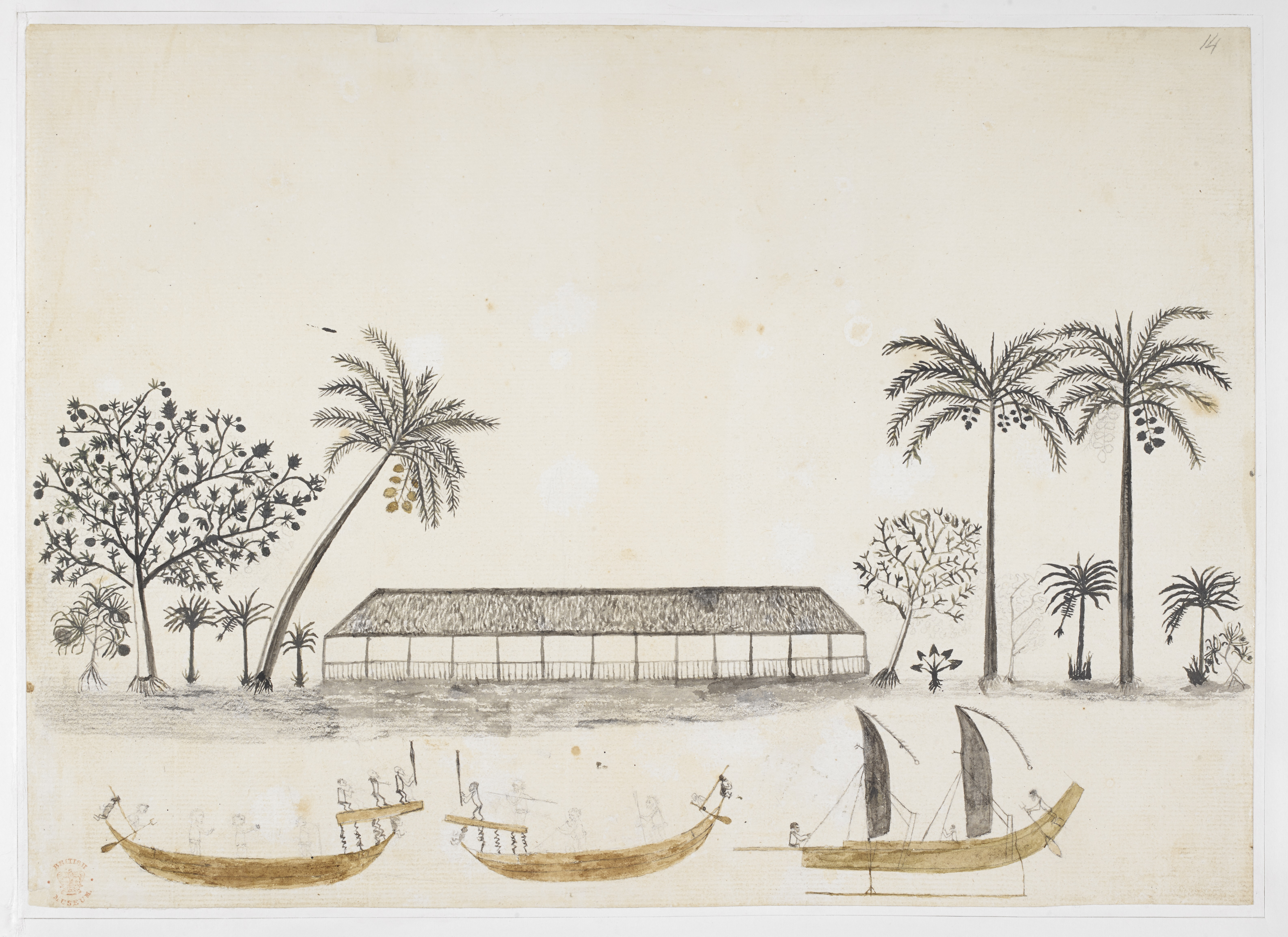Polynesian longhouse in Tahiti with trees and plants; Tahitian canoes sailing in the foreground; by Tupai'a