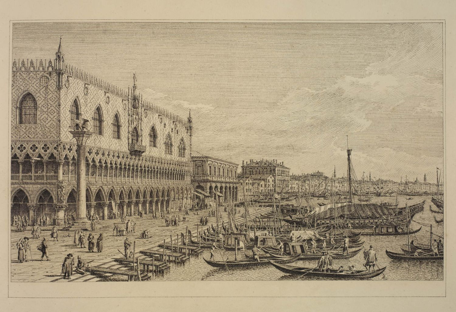 Antonio Visentini (1688-1782) after Antonio Canaletto (1697-1768), View from the Piazza San Marco to the Schiavoni, 1735-1742, pen and brown ink, 25.5 x 42.7 cm, British Museum 1948,0704.28.