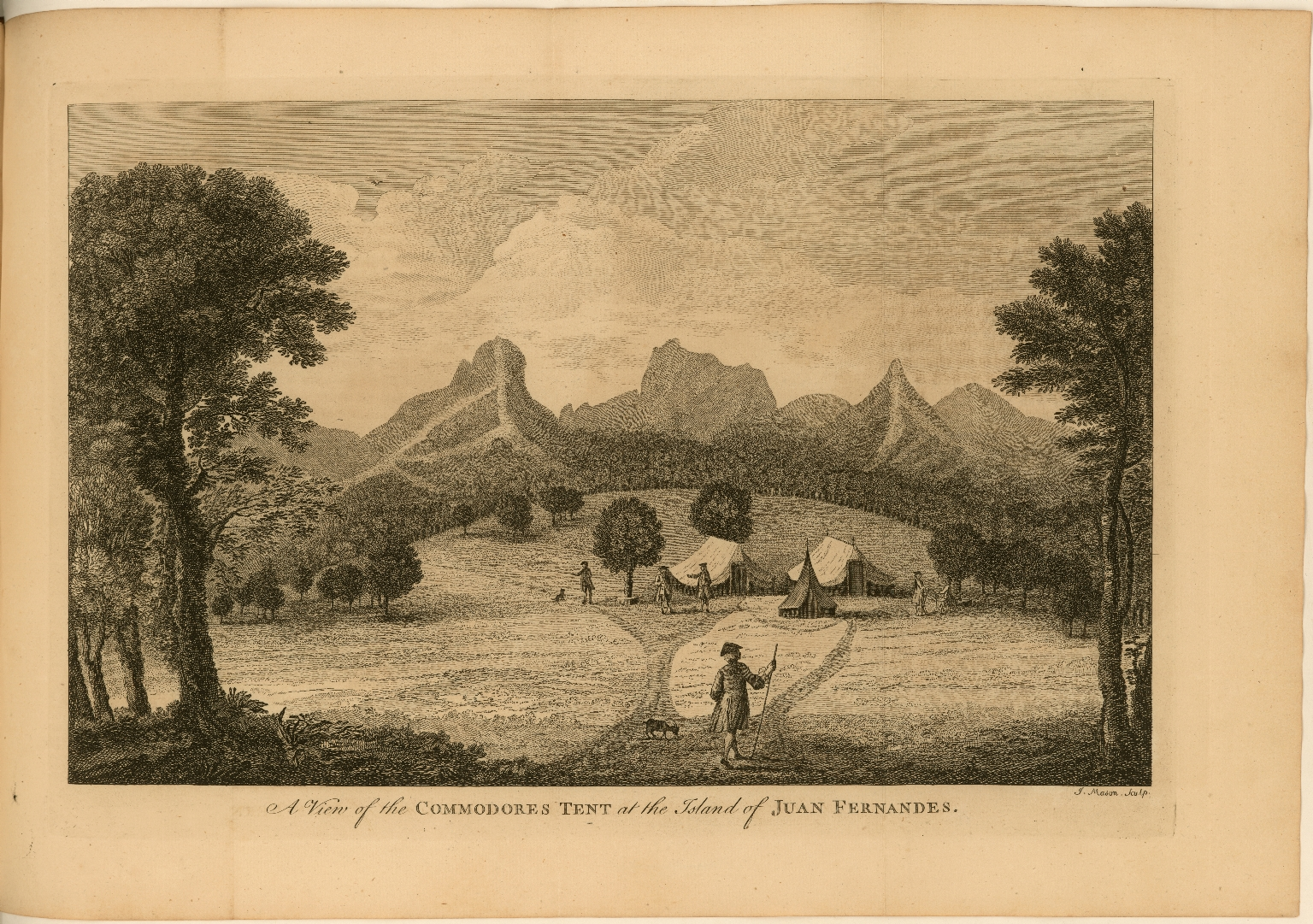 A View of the Commodores Tent at the Island of Juan Fernandes published in A voyage round the world, in the years MDCCXL, I, II, III, IV. By George Anson
