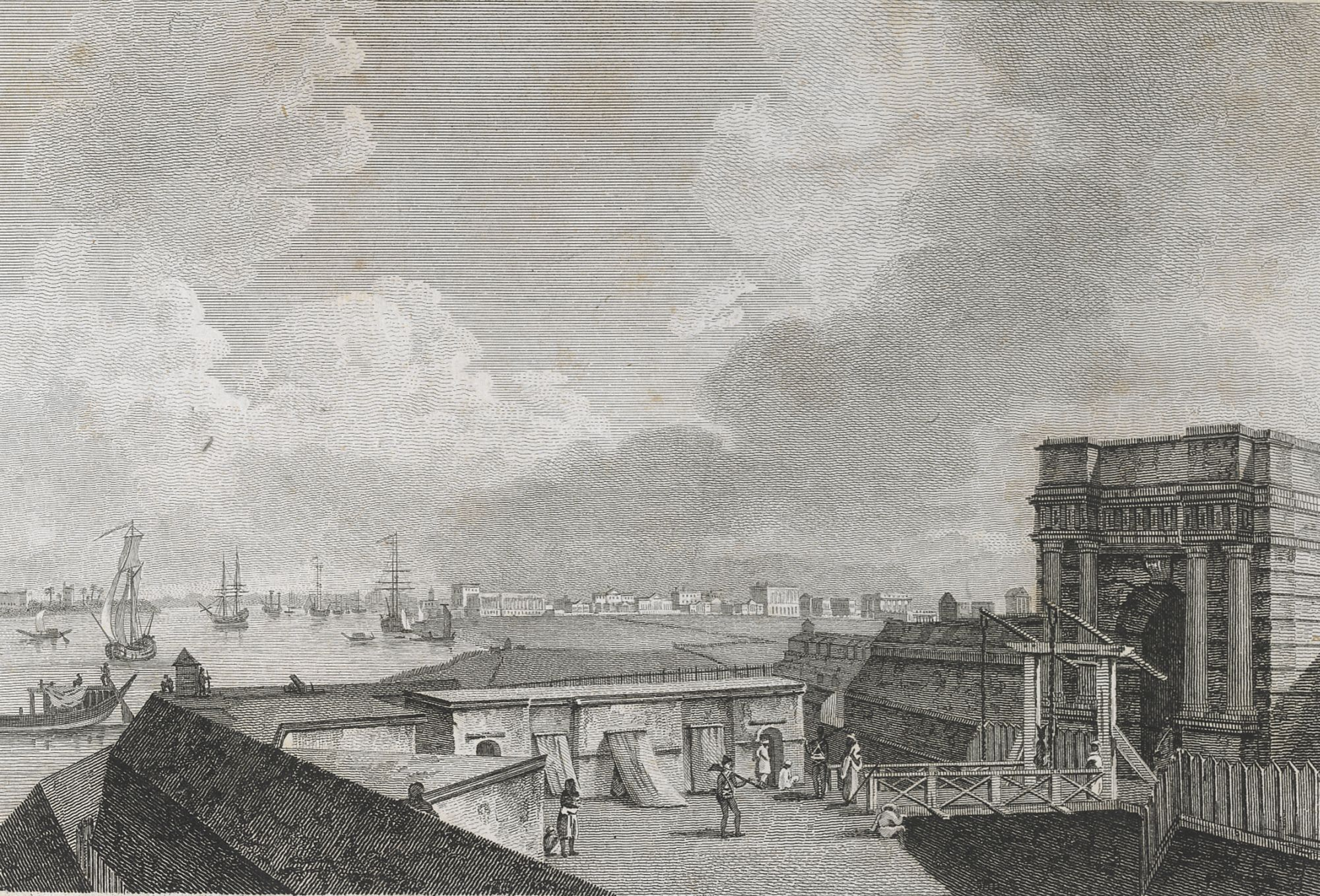 A View of Calcutta taken from Fort William, by William Byrne after William Hodges.