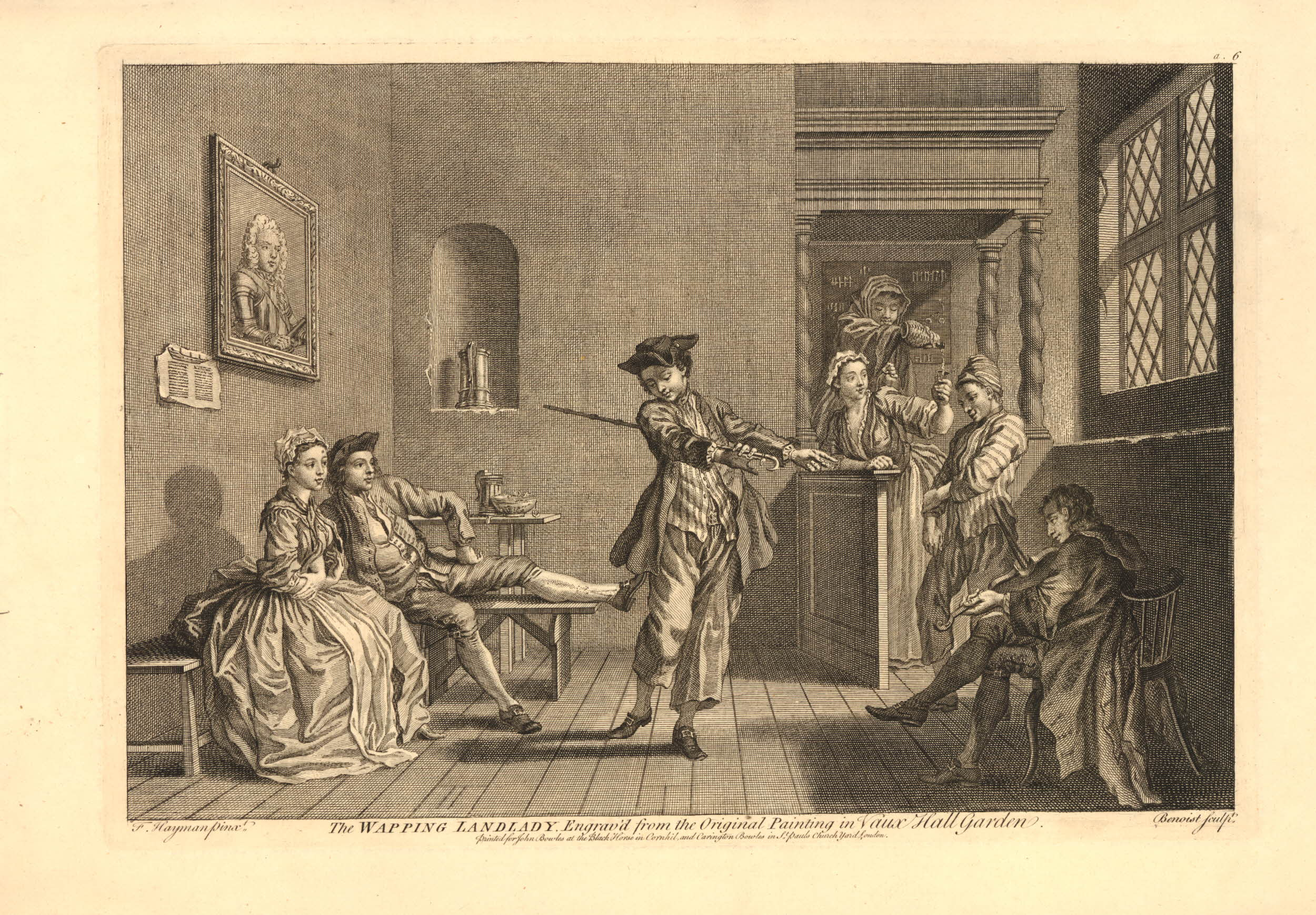Inn scene with sailors recently come ashore, one dancing with a walking stick to music from a fiddle player sitting at right, for the amusement of a couple at left, the landlady at the bar behind at right pouring a drink into the glass of a woman, as another sailor beside her watches the dance; portrait on the wall at left; after a painting by Hayman for Vauxhall Gardens, in the collection of the Victoria and Albert Museum (Allen CL 196). 1743 Engraving and etching