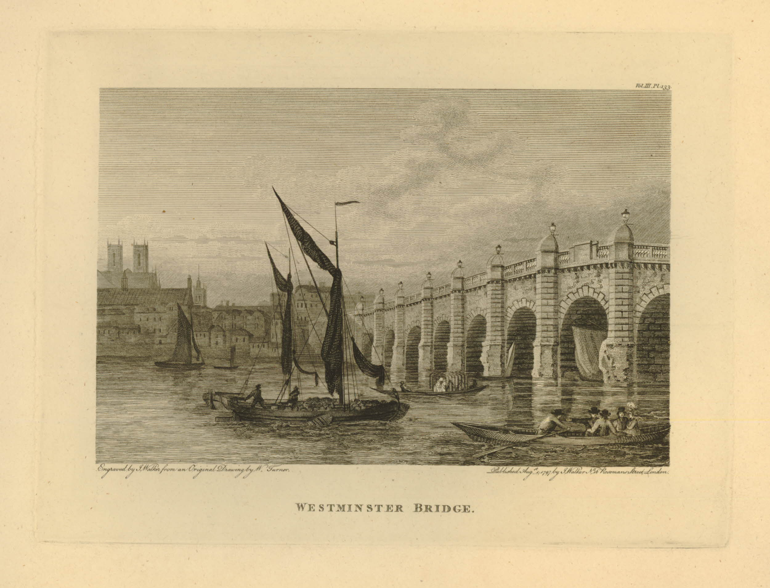 Joseph Mallord William Turner (1775-1851), Westminster Bridge, published London, John Walker (active 1776-1802), 1797, etching and engraving