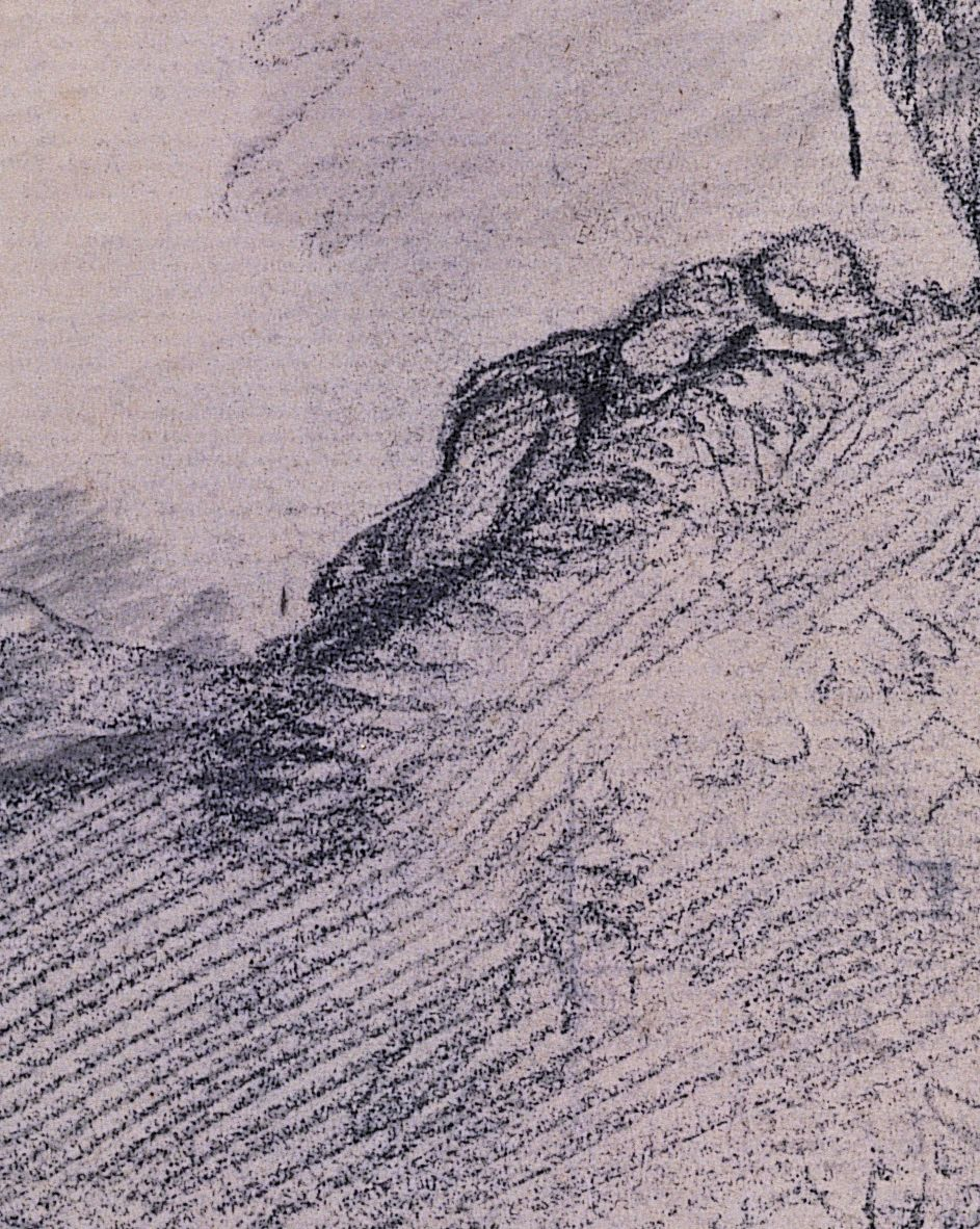 Thomas Gainsborough (1727-88), Detail from Wooded Landscape with Horse and Boy Sleeping, about 1757, pencil, 25.2 x 35.4 cm, Gainsborough's House, Sudbury, Inventory Number 1998.056