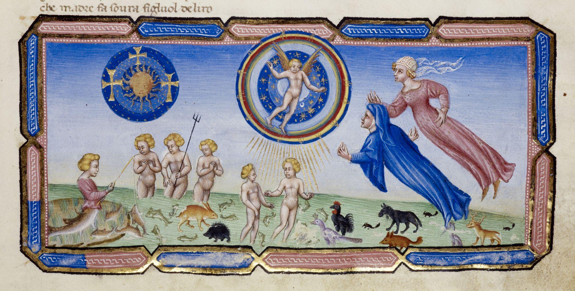 Illustration from Dante's Divine Comedy by Giovanni de Paolo; scene shows Dante ascending to heaven with Beatrice