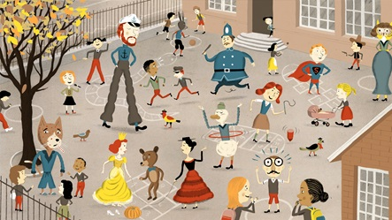 Illustration of lots of children, anthropomorphised animals and characters in costumes, all playing games and running around in a school playground