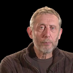Film still of Michael Rosen speaking to camera