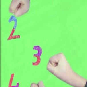 Animation still showing three children's fists next to the numbers 2, 3 and 4