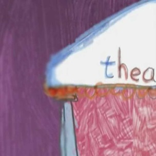 Animation still with part of a child's drawing of a theatre with columns
