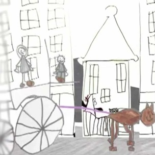 Animation still showing child's drawing of horse drawn cart in a street with figures in background