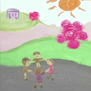 Animation still with child's drawing of group outdoors holding hands in a circle