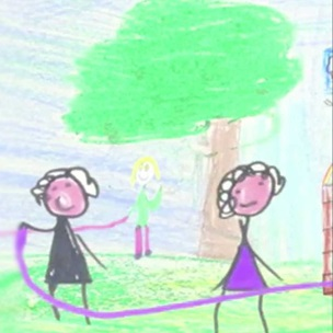 Animation still with child's drawing of children playing skipping rope game