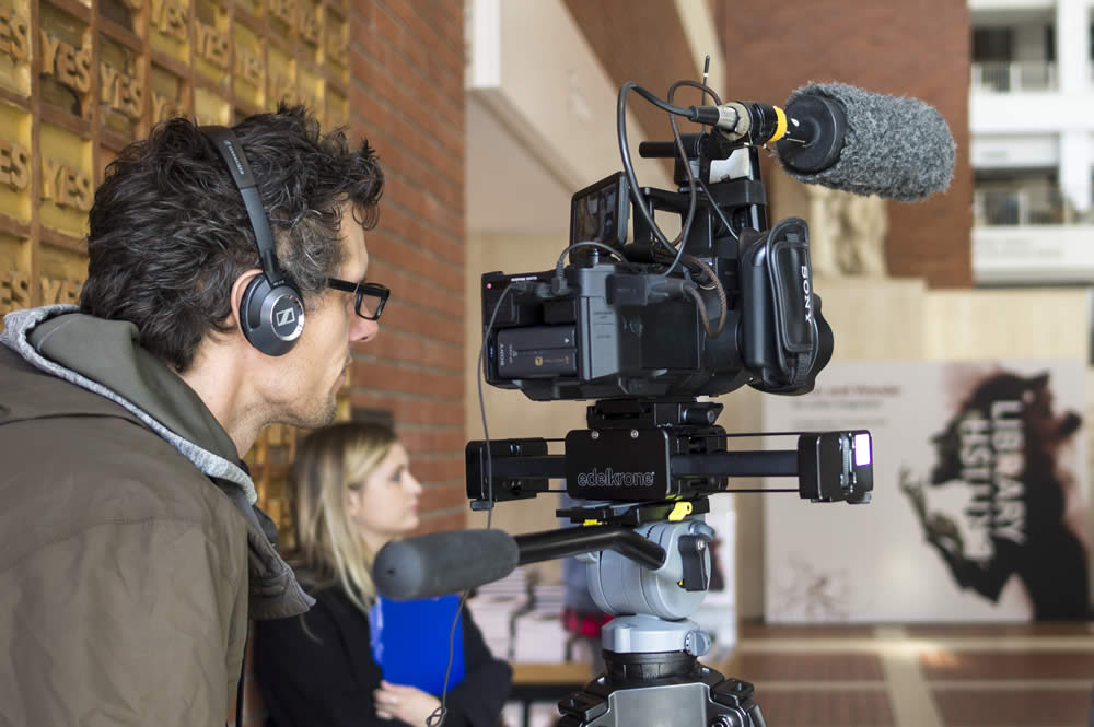 Image of filming taking place at the British Library