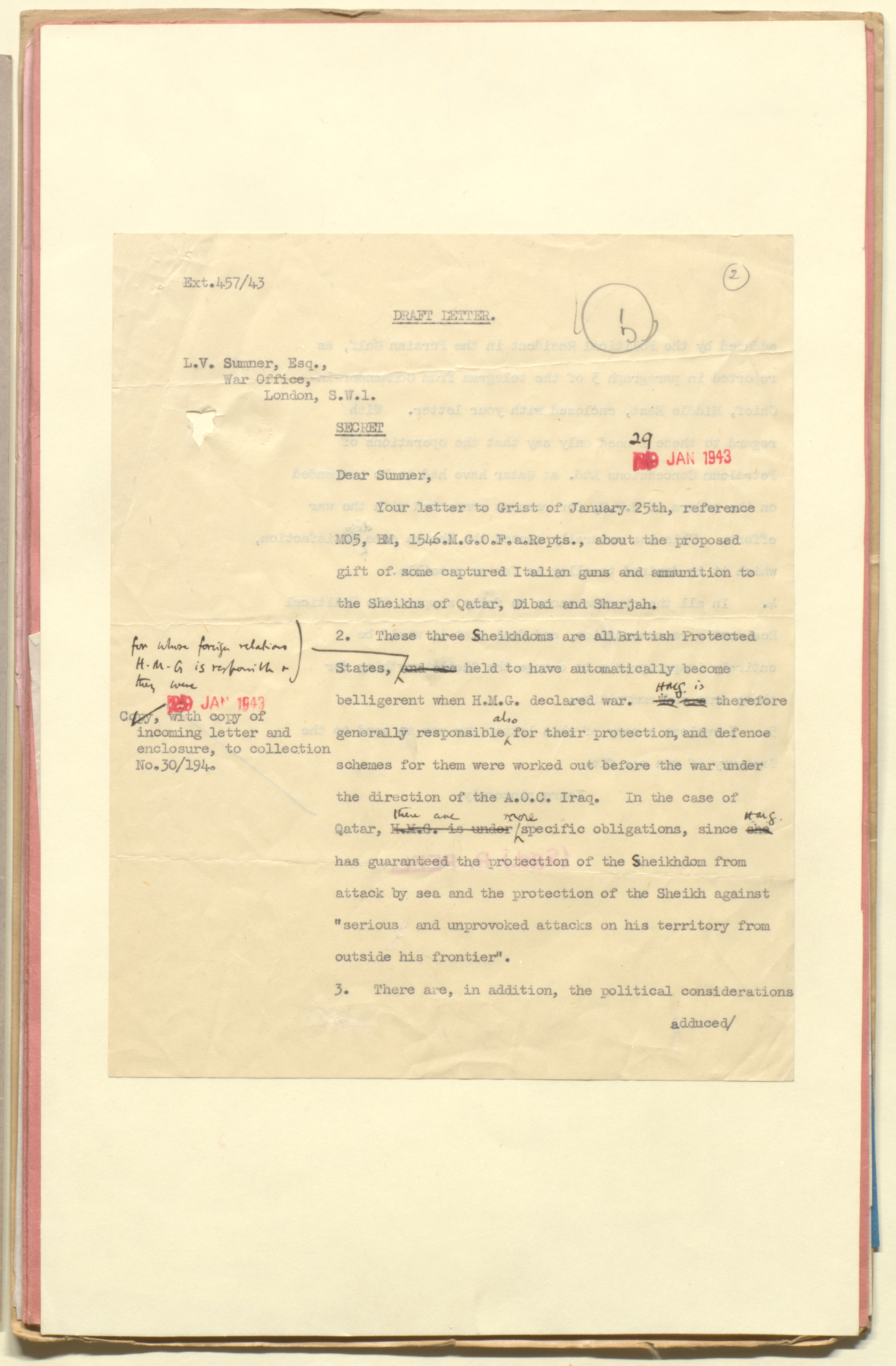 1st page of text from the 1916 Treaty of Qatar, from the file 'Qatar Affairs' (1941-49) (IOR/L/PS/12/3963)