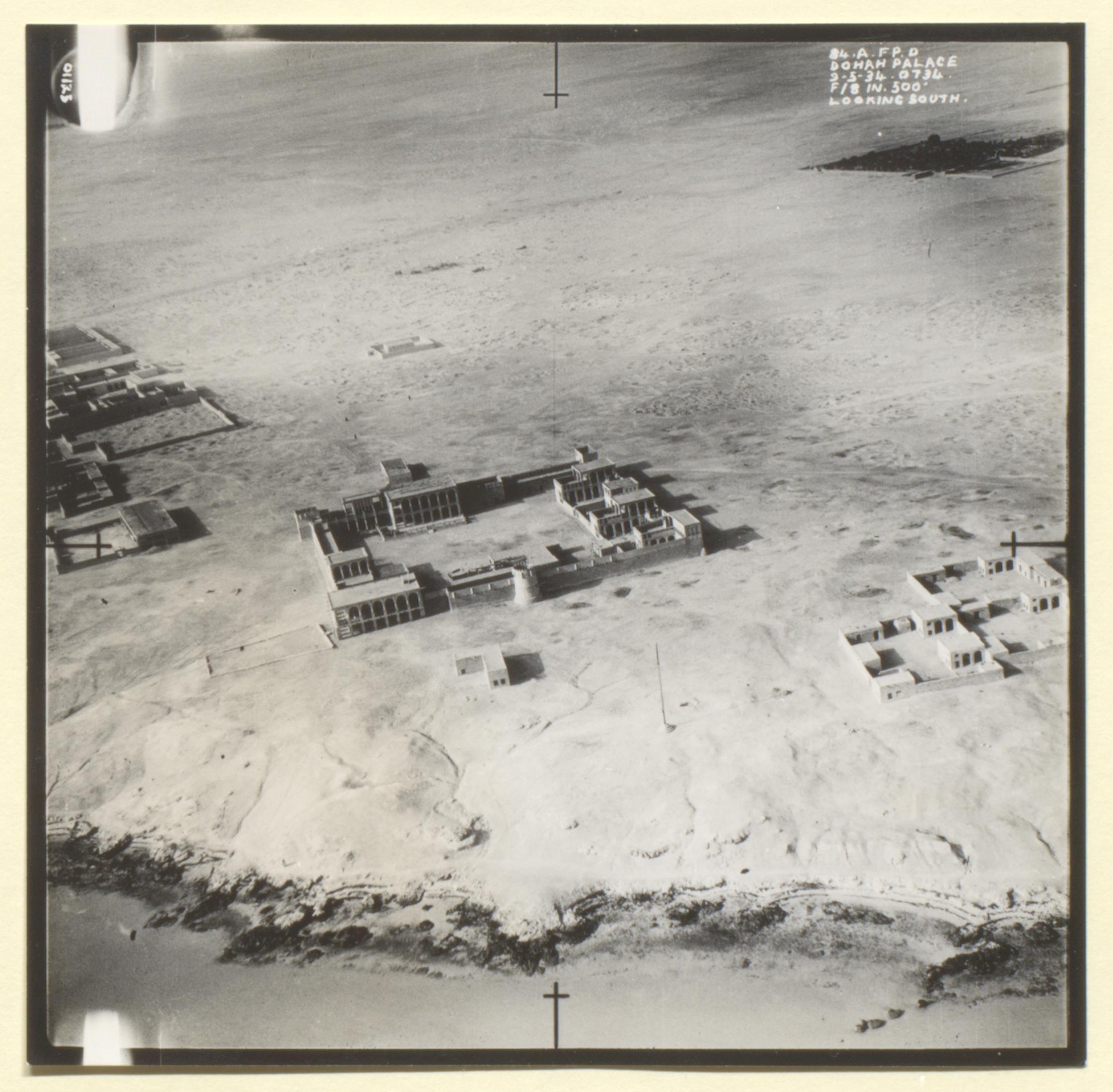 1st Royal Air Force photograph of Doha, Kara-Ana and Raiyan from a the file 'Air-route to India: Arab coast route; emergency landing ground at Qatar' (1934) (IOR/L/PS/12/1956)