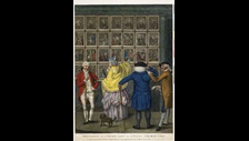 Spectators at a Print shop in St Pauls churchyard on display in Georgians Revealed c British Museum
